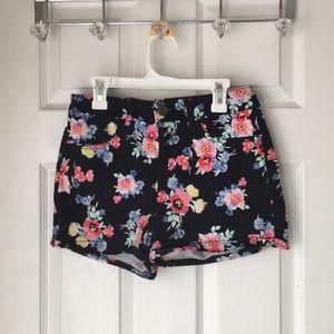 Black flowered shorts